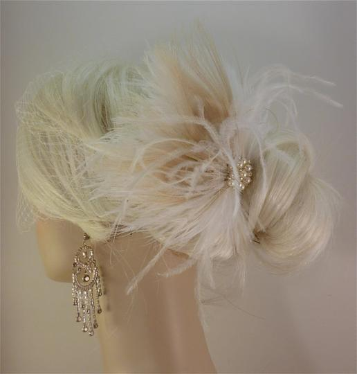 Ivory Short Fascinator W/Pearls And Bridal Veil Image 2