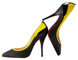 Christian Louboutin Colorblock Pointed Toe Glitter Sparkle Black and Yellow Pumps