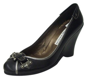 Pedro Miralles Leather Loafer Pewter Trims Covered Crepe Sole Pewter Hardware BLACK Wedges