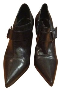 Casadei Leather Side Buckle High Heel Black Boots