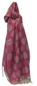 pashmire Pashmire pink polka dot scarf with tassels