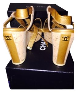 Chanel Gold Wedges