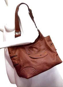 aridza Bross Cognac Naked Leather From Paris Quilted Corners Tote