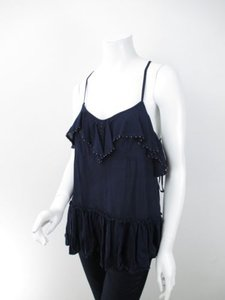 Free People People Tiered Ruffle Beaded Trim Top Blue