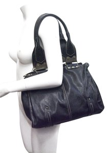 Pedro Miralles Black Lamb Leather Antique Brass Trims Contrast Stitching Tote