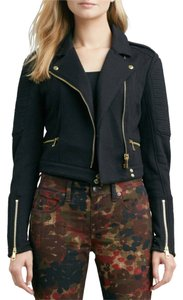 Burberry Brit Cropped Knit Zipped Detail Motorcycle Jacket