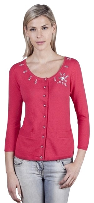 Preload https://item1.tradesy.com/images/salmon-front-pockets-rhinestone-embellished-cardigan-sweater-button-down-top-size-6-s-803765-0-0.jpg?width=400&height=650