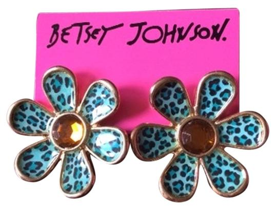 Betsey Johnson Leopard Print Flower Stud