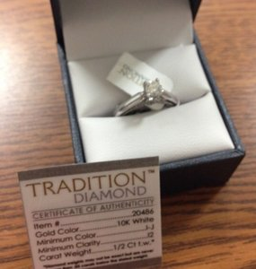 .5ct. Authentic Diamond Solitaire 10k White Gold Engagement Ring