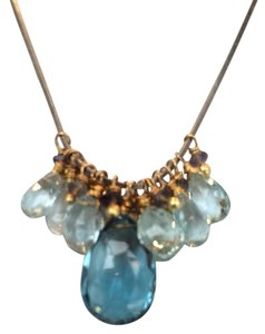 Light Blue Topaz and London Blue Topaz Briolette Necklace