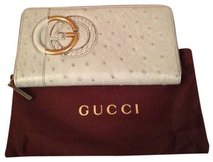 Gucci Gucci Twill Cellarius Ostrich Large Wallet