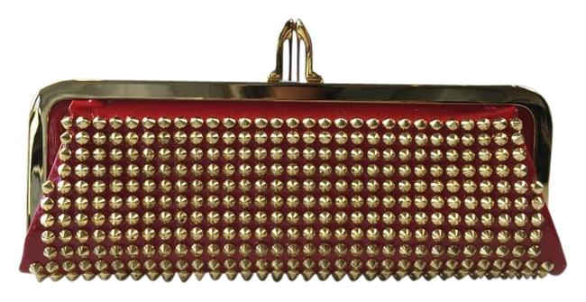 Item - Miss Loubi Red/Gold Patent Leather Clutch