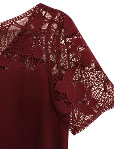 Ann Taylor Sheath Lace Wine Fall Dress