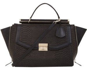 BCBGMAXAZRIA Python-textured Leather Satchel in Black