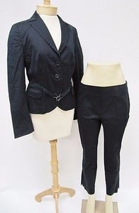 Akris Punto Womens Akris Punto Black Stretch Blazer Capri Pants Summer Suit