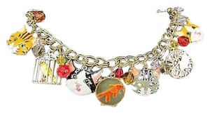 Vintage Lunch At The Ritz 2go Latr Hungry Kitty Cat Toggle 7.5 Charm Bracelet