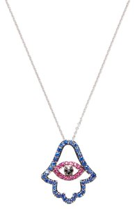 Nephora Diamond Hamsa & Evil Eye Pendant Necklace