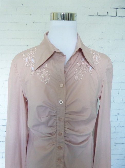 Max Studio French Cuff Stretch Button Down Shirt Pink
