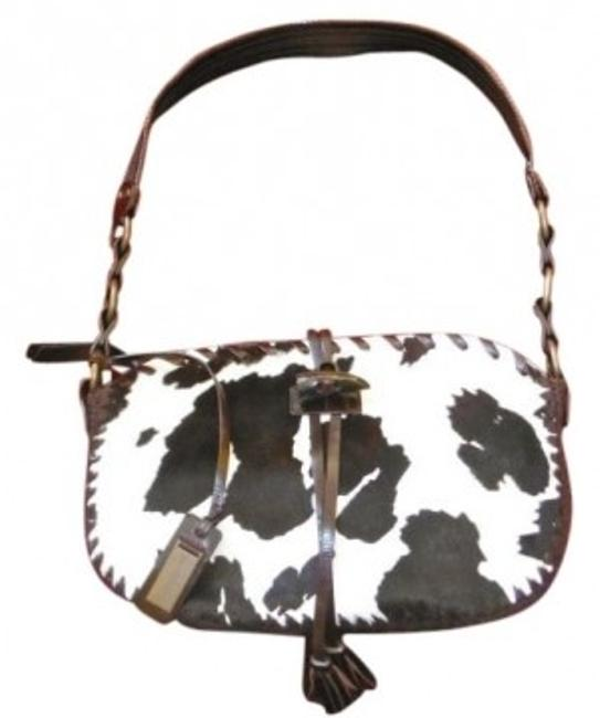 Dolce&Gabbana Skin with Brass & Leather Details Brown and White Cow Hide Shoulder Bag Dolce&Gabbana Skin with Brass & Leather Details Brown and White Cow Hide Shoulder Bag Image 1