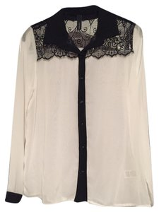 Other Sheer Lace Button Down Top white / black