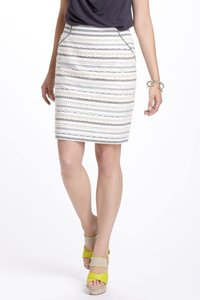 Anthropologie Lace Tabitha Sailing Pencil Skirt IVORY GRAY