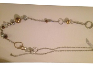 Lia Sophia Elongate Silver Chain Necklace with Gold/Bronze Beads