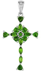 Other Genuine Russian Chrome Diopside Rhodium over Sterling Silver Cross Pendant w/20