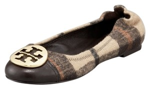 Tory Burch Leather Gold Plaid Flats