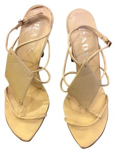 Prada Leather Yellow Wedges