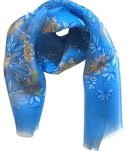 Cartier CARTIER Vintage Flower Parrot jewelry design on Blue stole 100% Silk Scarf