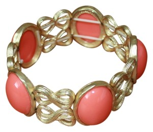 Boutique Gold and Coral Bangle