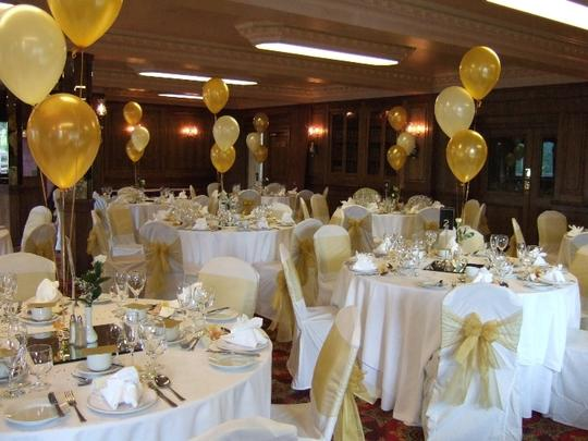 "Gold 120 - 12"" Latex Colors Balloon Event Birthday Prom Party Floral Centerpiece"
