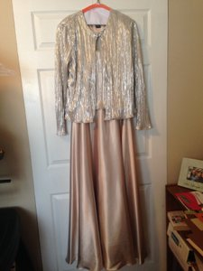David's Bridal Champagne Full Length A-line With Jacket Dress