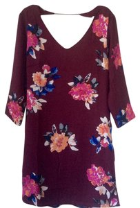 One Clothing short dress Wine with floral print on Tradesy