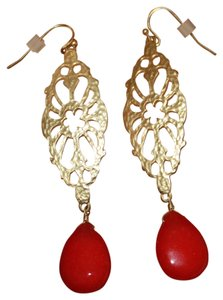 Boutique Gold/Red Earrings