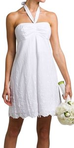 Lilly Pulitzer short dress White Strapless Halter Strap Embroidered Wedding Vacation on Tradesy