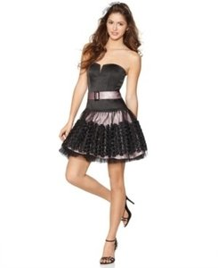 Jessica McClintock Black Strapless Rosette Trim Dress