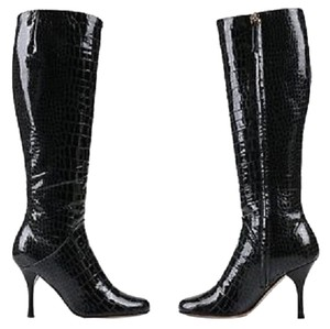 Giuseppe Zanotti Black Patent Leather Alligator Pattern Boots