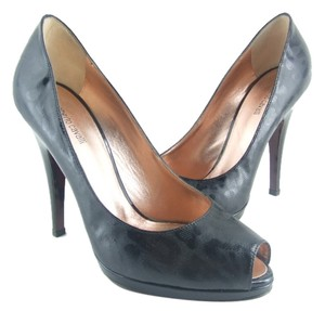 Roberto Cavalli Black Leather Peep Toe Pumps