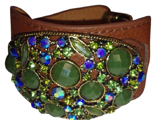 STONE AND LEATHER GREEN STONES CRYSTALS Leather CUFF