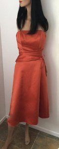Alfred Angelo Pumpkin Orange Poly Satin / Lining Poly-cotton Blend Evening Gown * Formal Bridesmaid/Mob Dress Size 2 (XS)