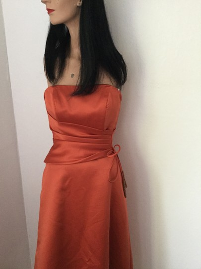 Alfred Angelo Pumpkin Orange Poly Satin / Lining Poly-cotton Blend Evening Gown * Formal Bridesmaid/Mob Dress Size 2 (XS) Image 1