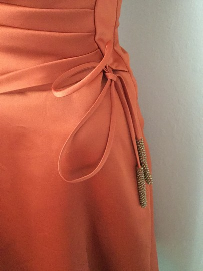 Alfred Angelo Pumpkin Orange Poly Satin / Lining Poly-cotton Blend Evening Gown * Formal Bridesmaid/Mob Dress Size 2 (XS) Image 2
