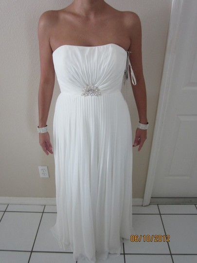 David's Bridal Chiffon Strapless A Line Gown Wedding Dress