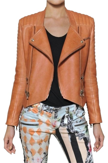Balmain Brand New Quilted Biker Tan Peach Orange Jacket