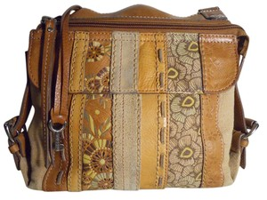 Fossil Leather Patchwork Organizer Cross Body Bag