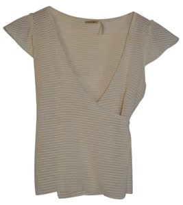 Max Studio Silk Cotton Cap Sleeve Top Cream