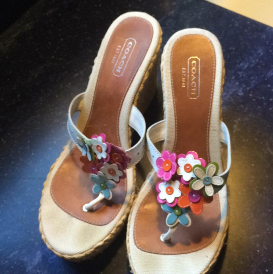 Coach White With Flowers Wedges Size Us 11 Regular M B Tradesy