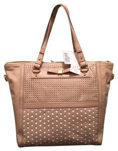 Badgley Mischka Neutral Leather Tote Shoulder Bag