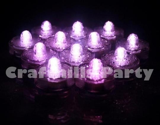 Pink 48 Pcs Led Submersible Waterproof Floral Party Tea Candle Vase Light Centerpiece